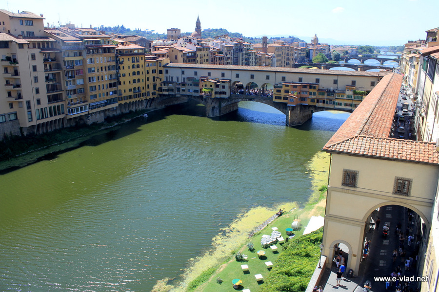 Ponte Vecchio seen from the upper floor of the Uffizi Gallery.