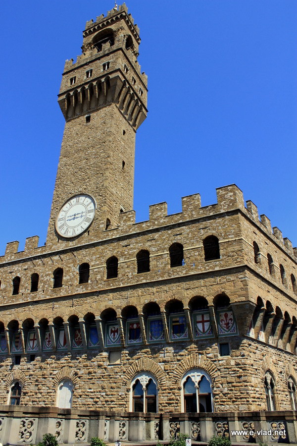 The iconic Palazzo Vecchio bell tower seen from the Uffizi Museum