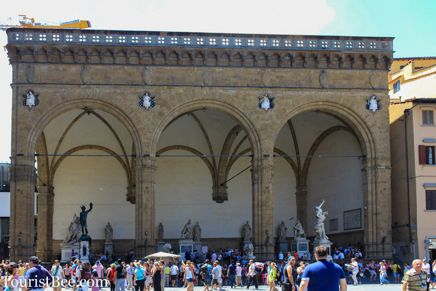 An open air gallery of sculptures at the Loggia dei Lanzi inside Piazza della Signoria