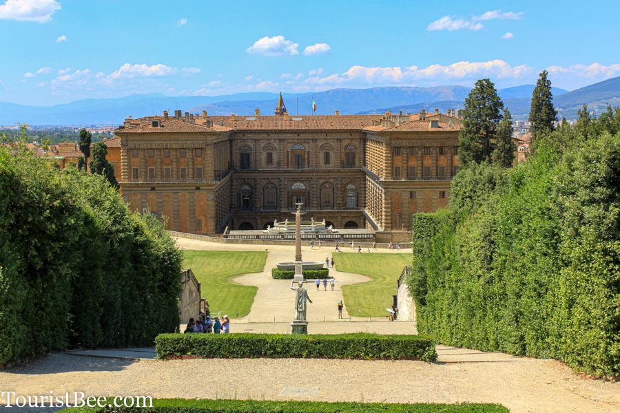 Beautiful view of Palazzo Pitti and Boboli Gardens.