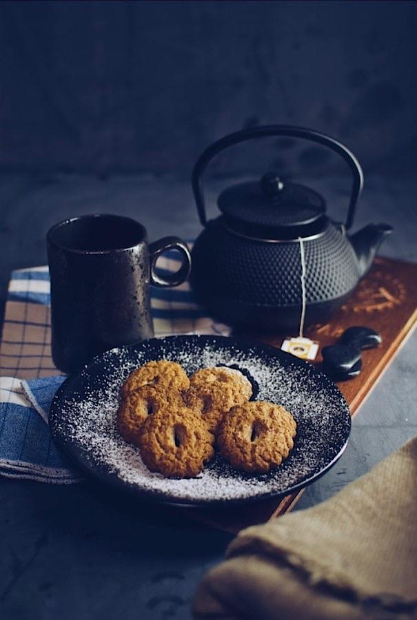 Simple Italian breakfast with tea and cookies