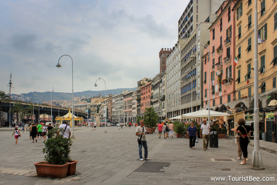 Genoa, Italy - Piazza Caricamento across from Porto Antico (the old port)