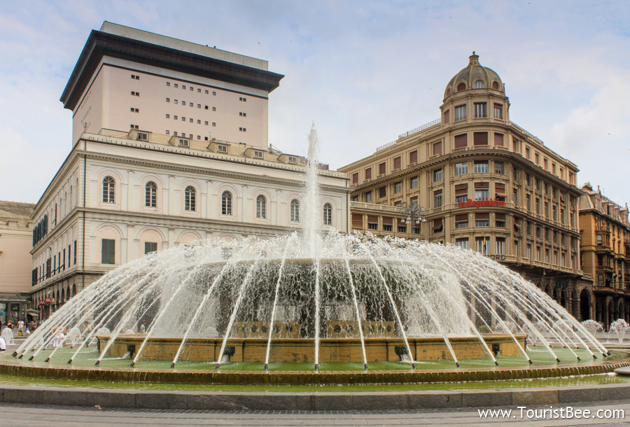 Genoa, Italy - Beautiful water fountain in Piazza de Ferrari.