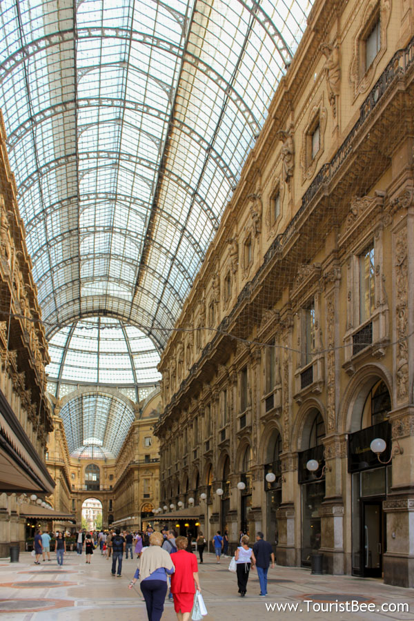 Milan, Italy - Walking through the fancy Milan shopping galleries