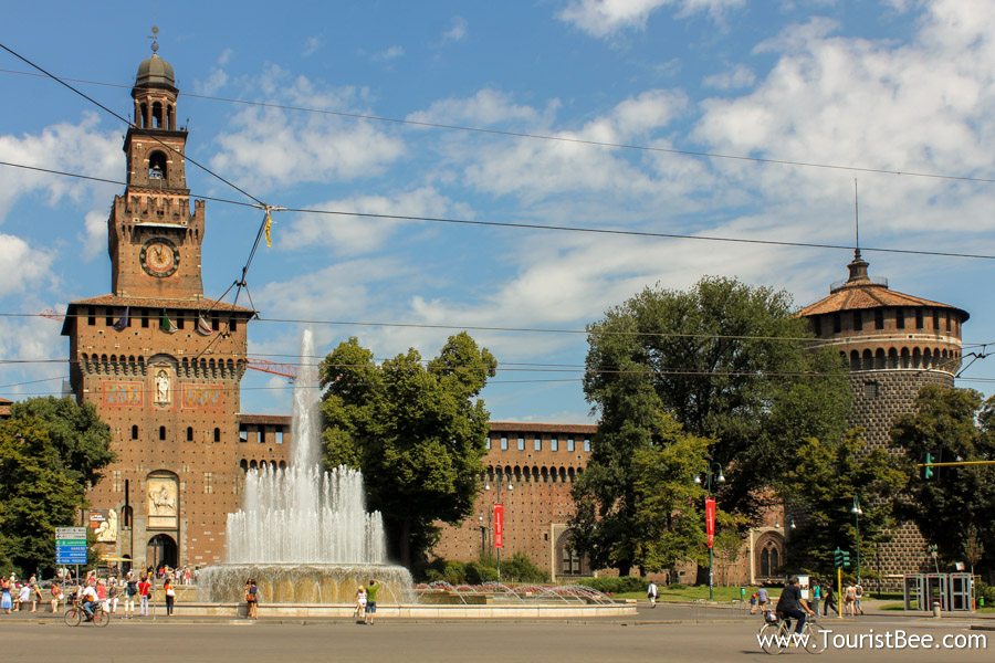 Milan, Italy - Outer wall of the Castello Sforzesco seen from Via Dante