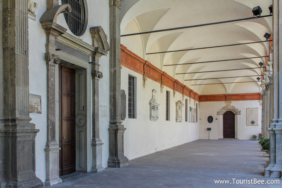 Milan, Italy - Passageway inside the Saint Ambrose church building complex.