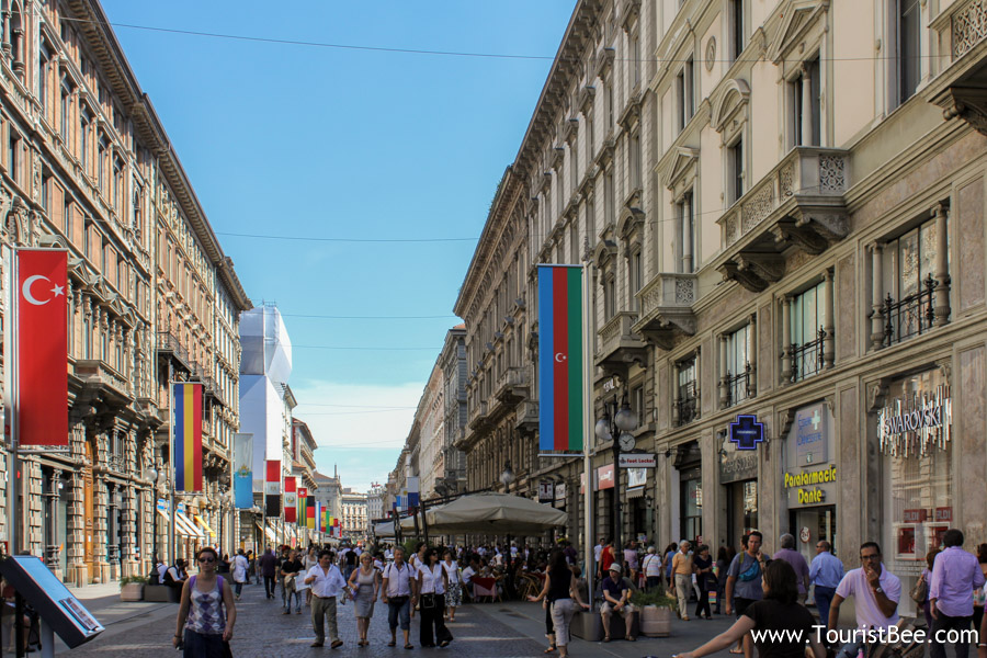 Milan, Italy - Via Dante is a busy street filled with shops and restaurants.