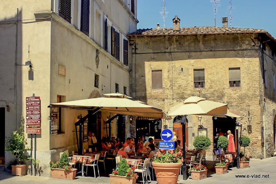 San Gimignano, Italy - Small restaurant near Porta San Giovani inside city walls