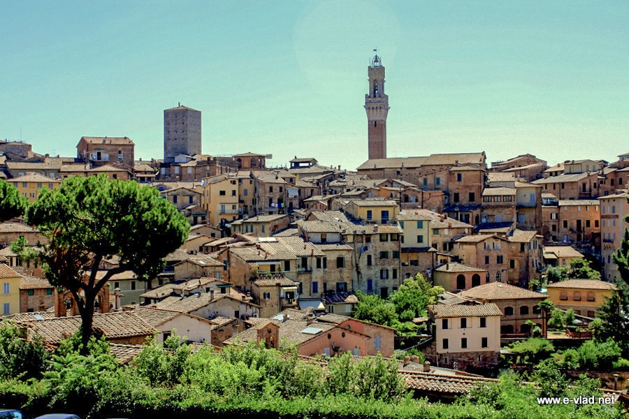 Siena, Italy - Beautiful panorama of Siena from Basilica of San Domenico