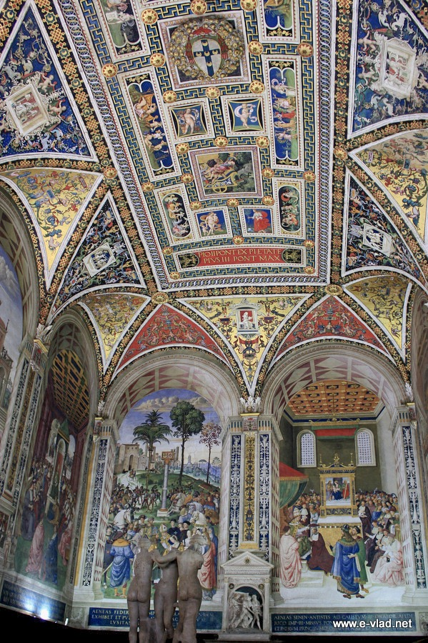 Siena, Italy - Beautiful ceiling and frescoes inside the Piccolomini Library of the Duomo.