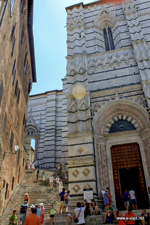 Siena, Italy - The stairs and entrance to the Baptistry.