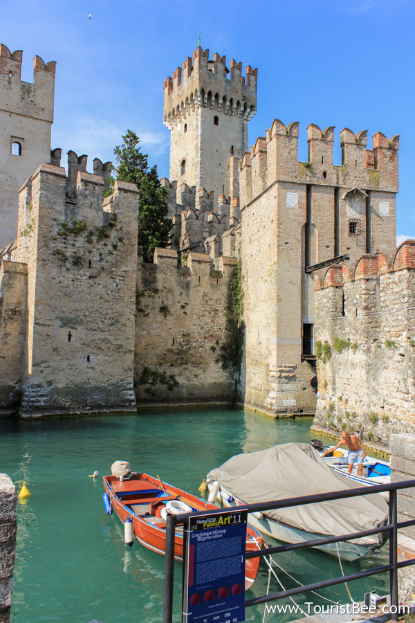 Sirmione, Italy - The entrance to the village of Sirmione through old city walls