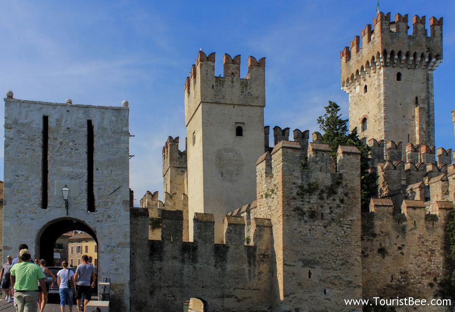 Sirmione, Italy - Old city walls mark the entrance to the old village of Sirmione.