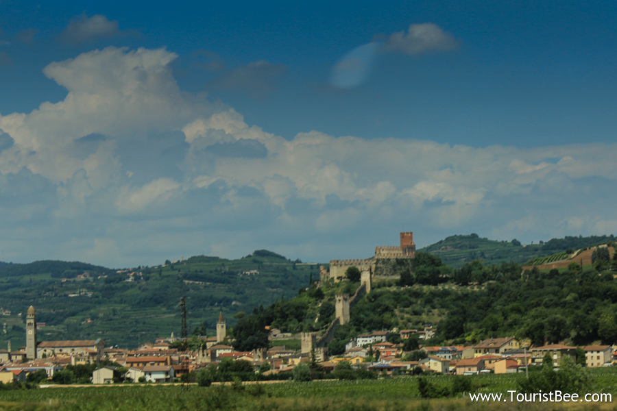 Impressive Soave, Italy seen from  the A4 motorway.