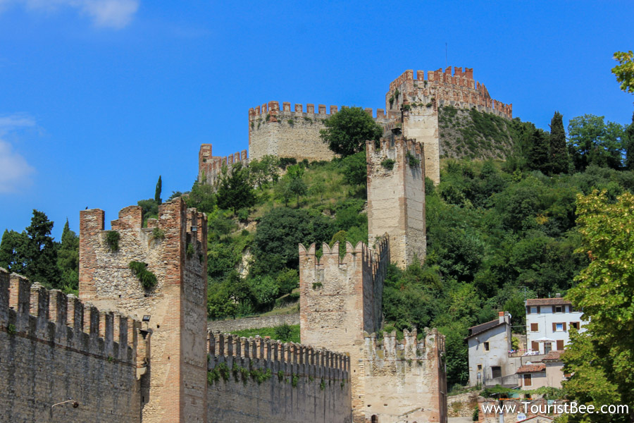 Soave, Italy - Beautiful Soave Castle seen on the hill from the village below. The castle is a military bulding typical for the Veneto area of Italy.