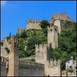 Soave, Italy - Beautiful Soave Castle seen on the hill from the village below.