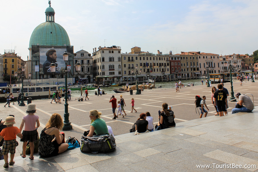 Venice, Italy - View of Grand Canal from the Santa Lucia train station. This is the last place where cars are allowed.