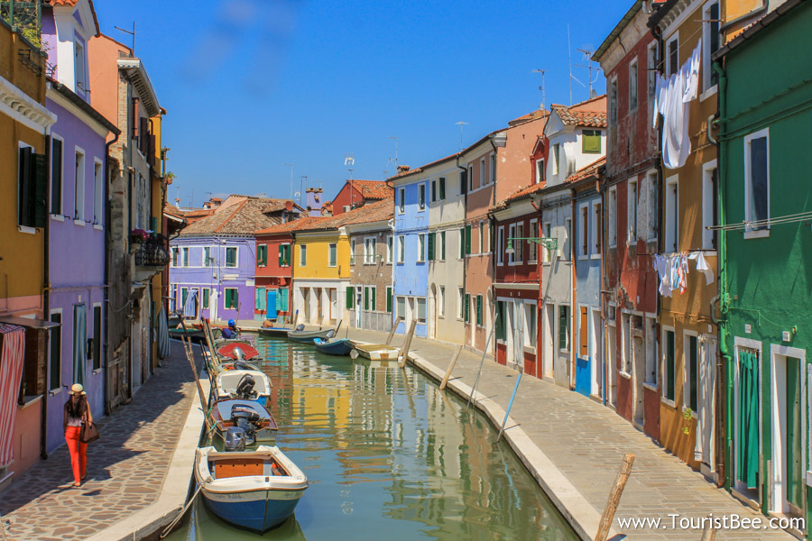 Burano, Italy - Colorful houses line up the main water canal in Burano