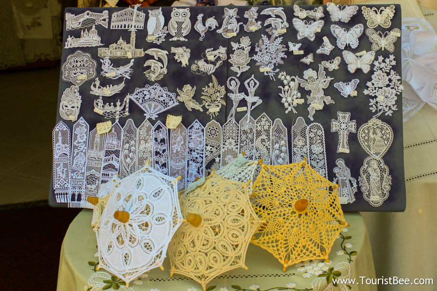 Burano, Italy - Beautiful and delicate lace embroidery for sale in Burano