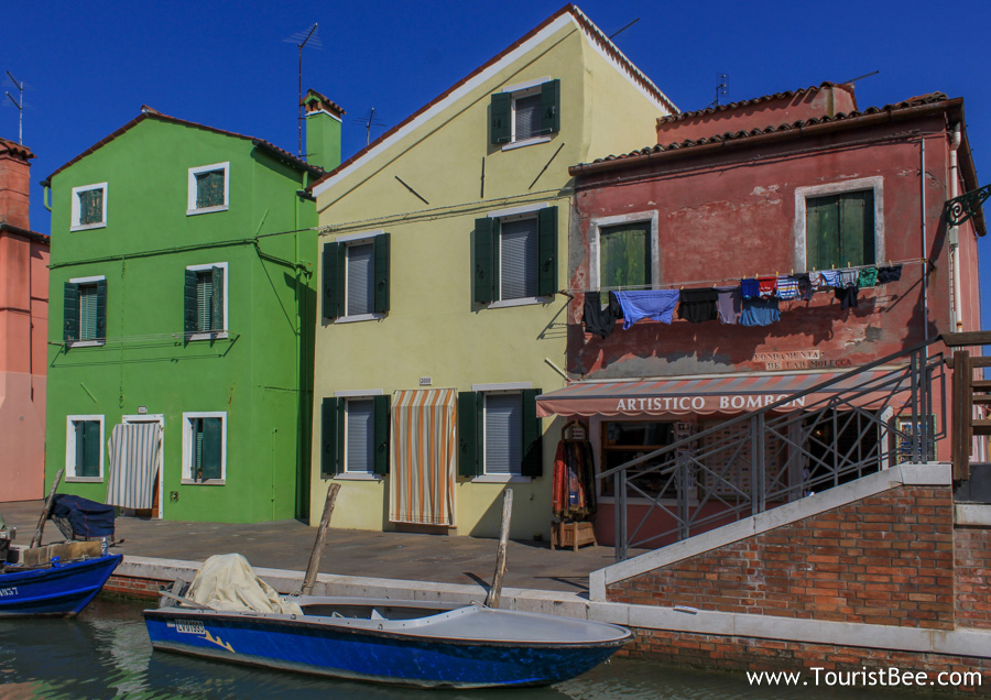 Burano, Italy - Colorful laundry left to dry in front of colorful houses is the most common sight in Burano.
