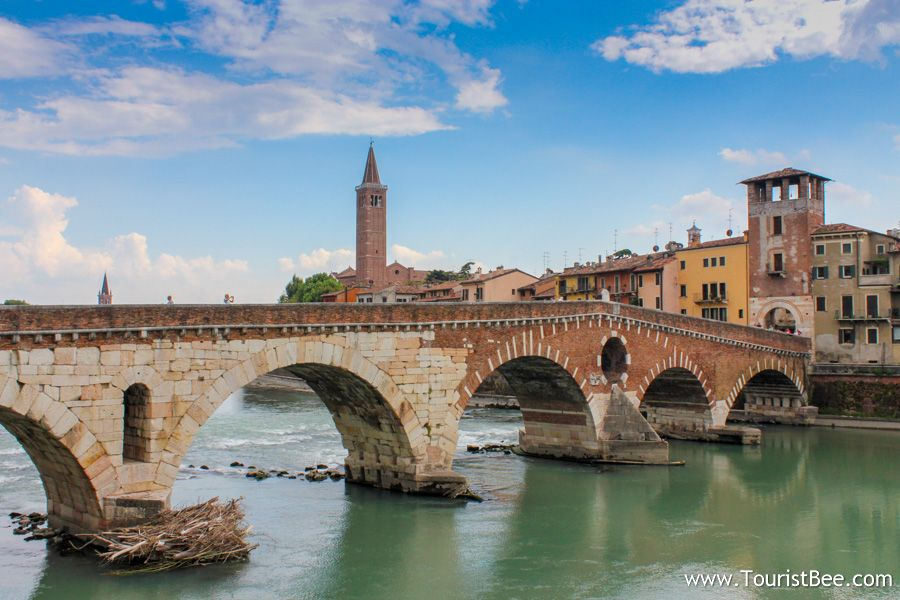 Verona, Italy - The old Peter's Bridge (Ponte Pietra) connects Verona across river Adige