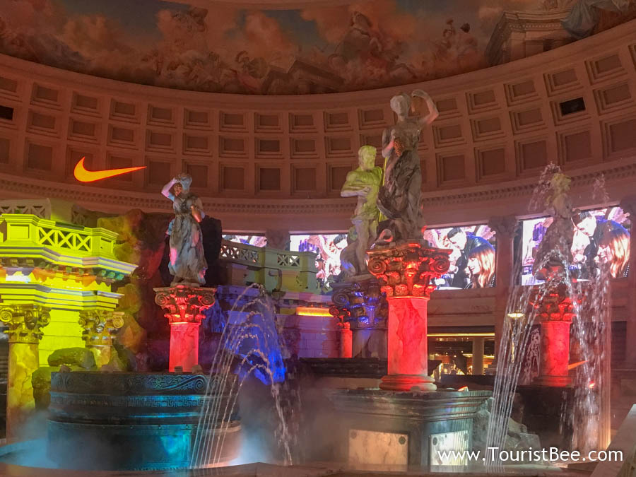 Caesars Palace, Las Vegas - Fall of the Atlantis water and fire show happens hourly inside the Shops at the Forum