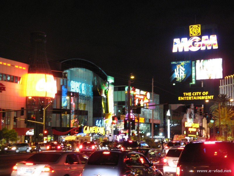 The lights on the Las Vegas Strip are the main attraction at night