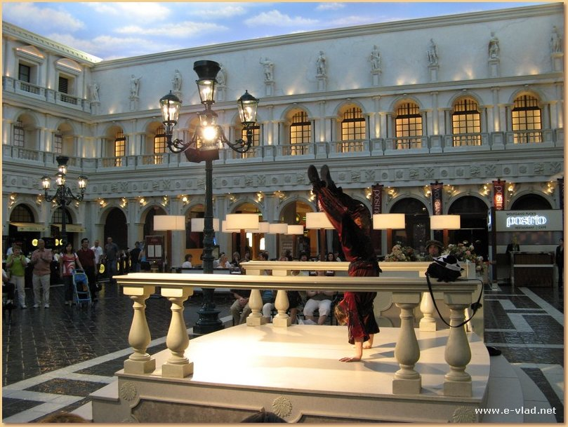 Street acrobat performing in Piazza San Marco inside The Venetian, Las Vegas