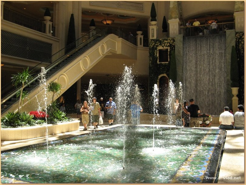 Water fountains inside the Venetian shopping galleries.