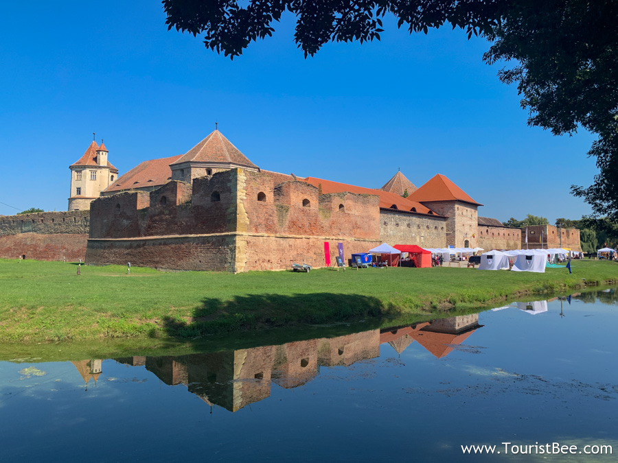 The fortress reflected in moat water