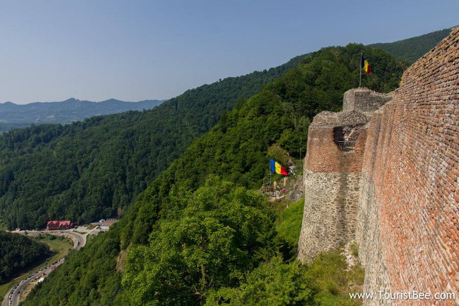 Poenari Fortress, Romania - The old fortress walls and the valley below