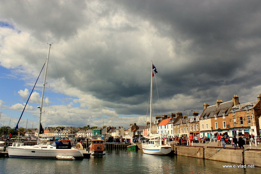 Anstruther, Scotland - Dark clouds gathering over the marina at Anstruther.