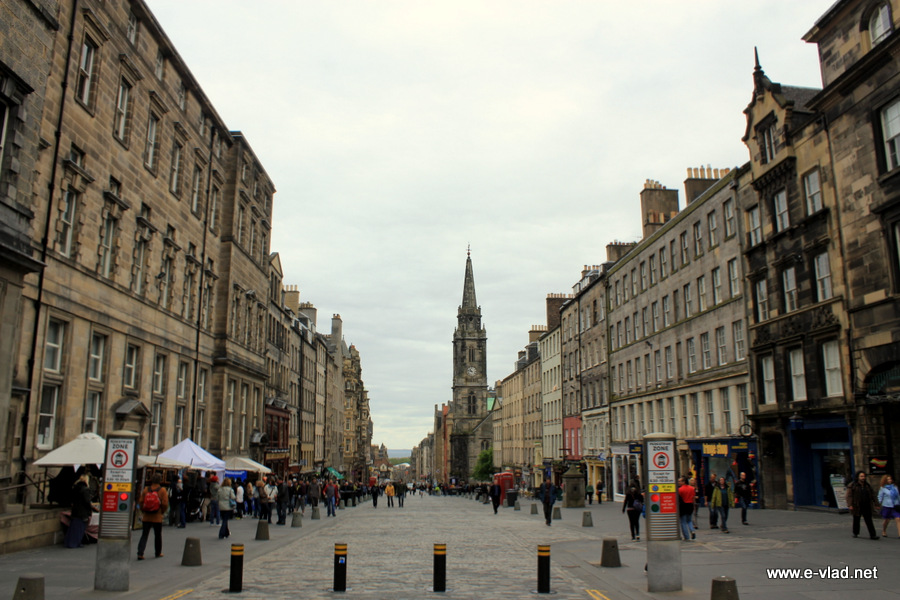 Edinburgh, Scotland - Walking down on Royal Mile looking towards the empty Tron Church.