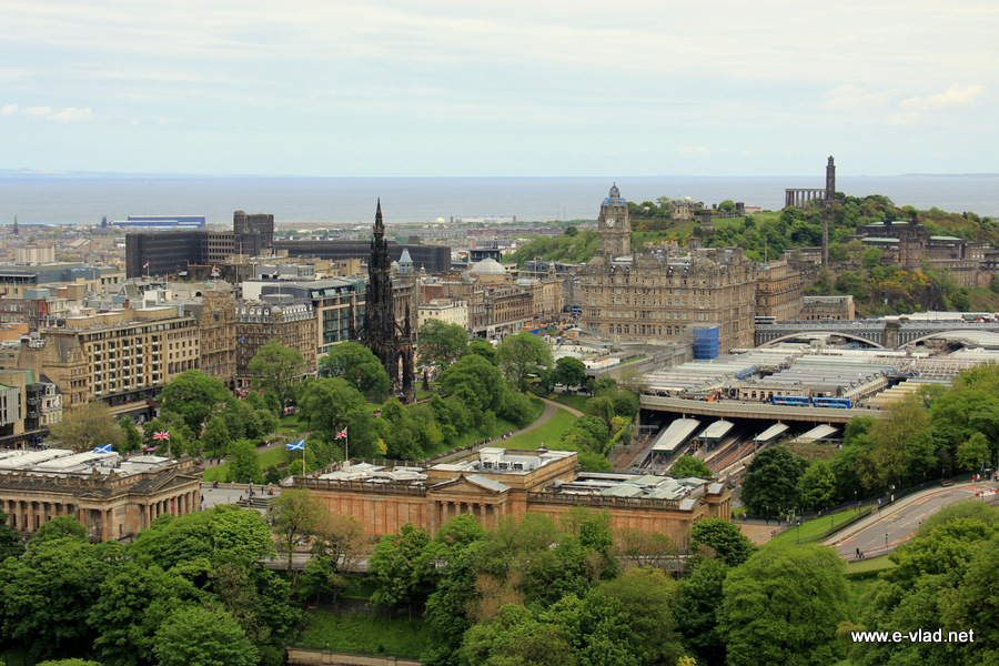 Edinburgh, Scotland - The large Waverly Train Station and the Scott Monument seen from Edinburgh Castle.