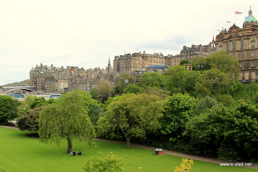 Edinburgh, Scotland - Princess Street Gardens and Edinburgh Old Town on the hill.
