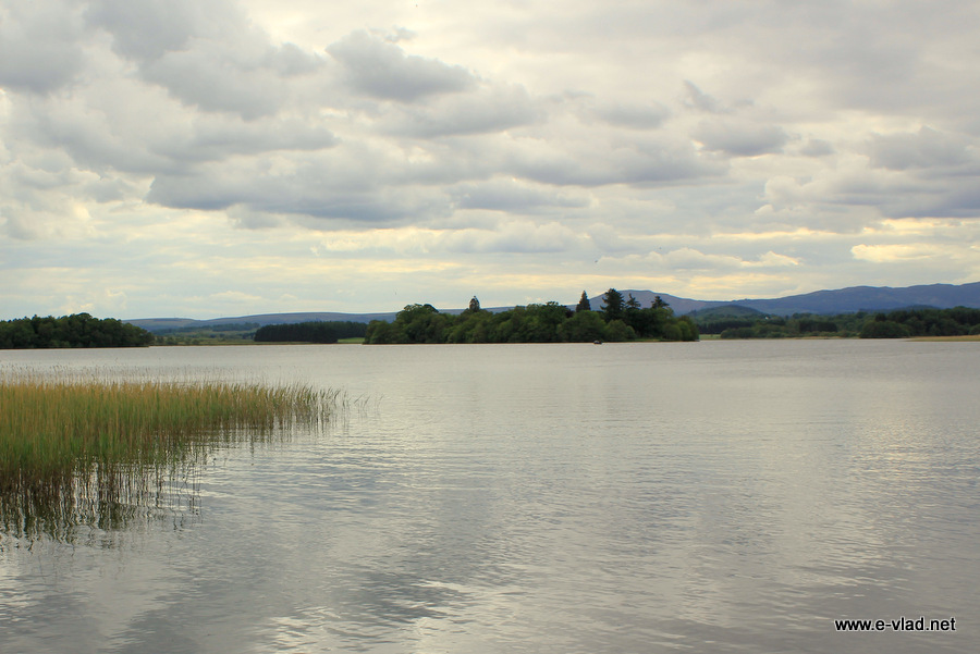 The Lake of Menteith with the island where you can find the ruins of Inchmanhome Priory.