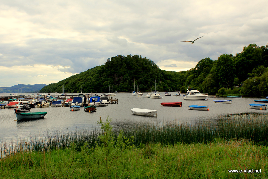 Boats anchored at the beautiful harbor at Balmaha
