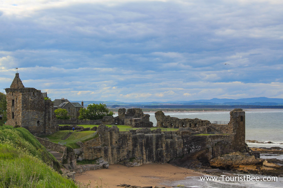 St Andrews, Scotland - The ruins of St Andrews Castle on the coast