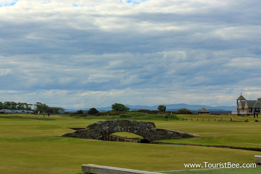 St Andrews, Scotland - The famous Swilcan Bridge in St Andrews Links golf course is over 700 years old.