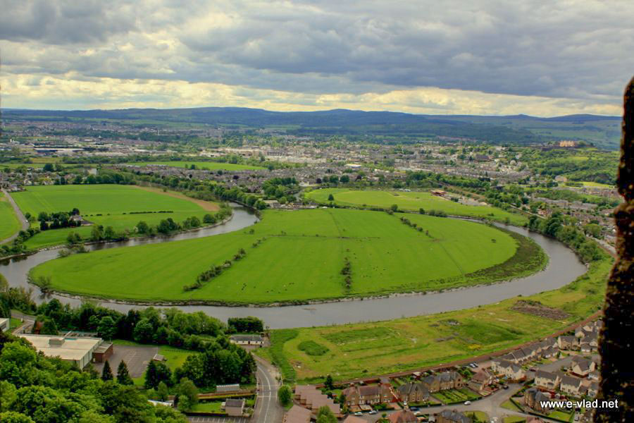 Stirling, Scotland - Amazing panorama of river Forth and the Stirling battlefield.