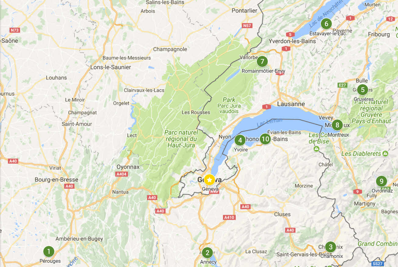 Map of my favorite day trips from Geneva, Switzerland