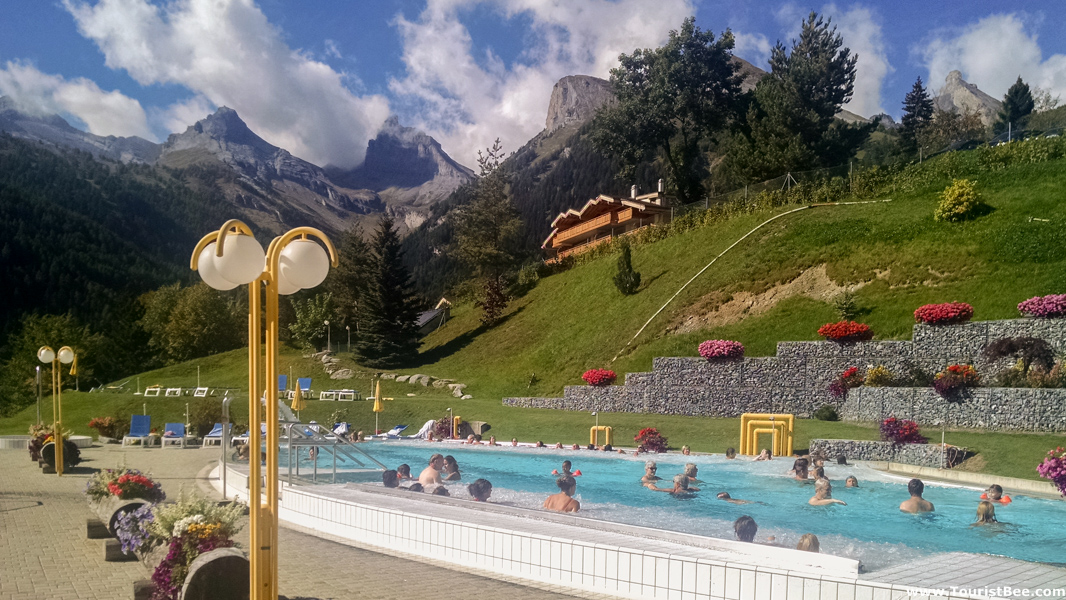 Ovronnaz, Switzerland - Tourists enjoying the hot springs at Ovronnaz