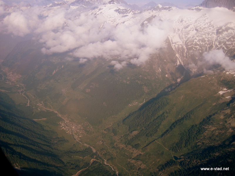 Visp, Switzerland - Lötschental Valley and Bietschhorn seen from the air.