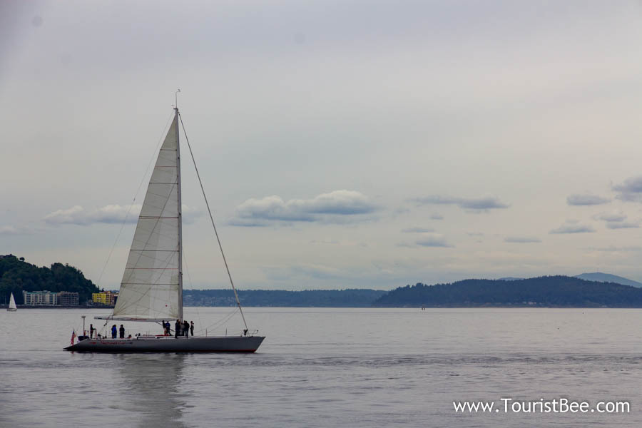 Seattle, Washington - Small sailboat sailing towards San Juan Islands