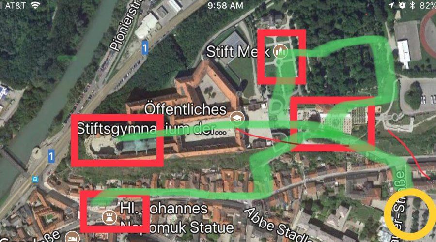 Walking tour map of Melk, Austria