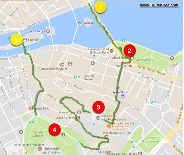 geneva-walking-tour-map - TouristBee on my travel group, my travel holidays, my travel itinerary, my travel agent, my travel health, my travel history,