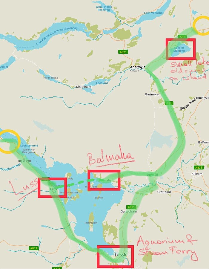 Loch Lomond & Trossachs driving map