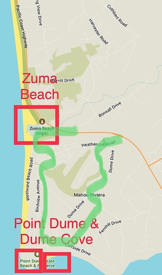Map of Point Dume area in Malibu