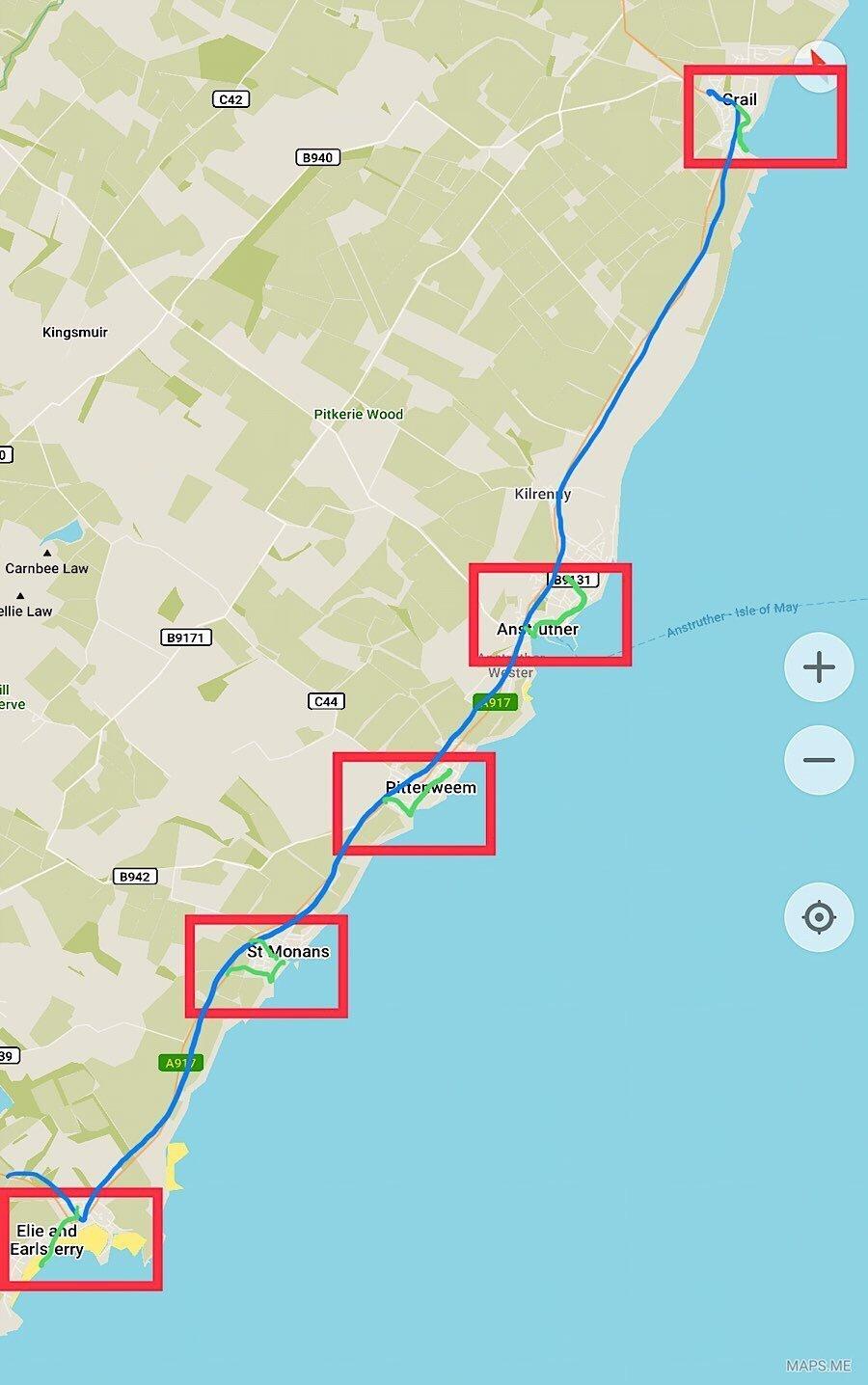 Map of Scottish fishing villages close to Edinburgh