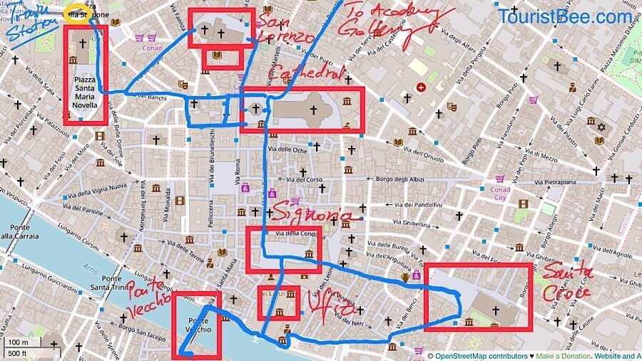 Walking tour map of Florence, north of the Arno River